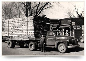 Old Time Photo of a Kretz Truck Hauling Lumber